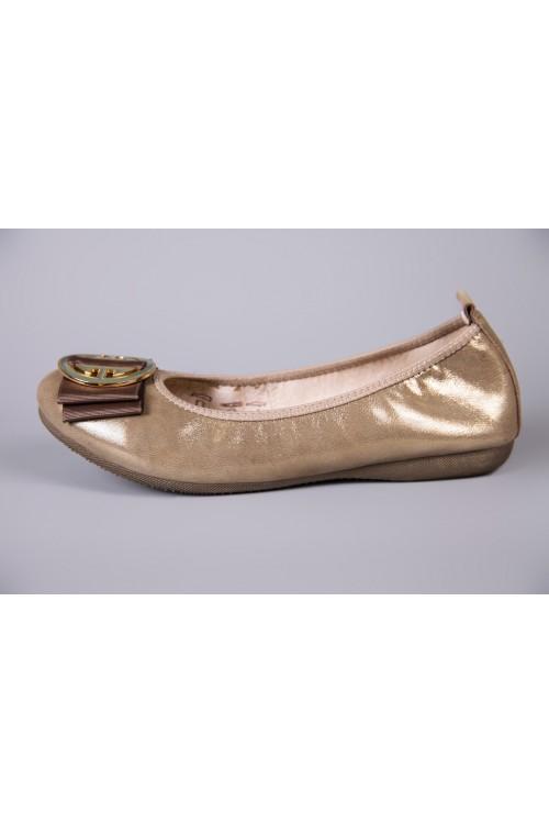 Балетки женские золотого цвета с пряжкой и коричневым бантом La Ballerina