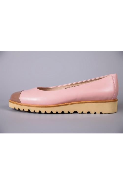 Балетки розового цвета из натурально кожи на танкетке La Ballerina
