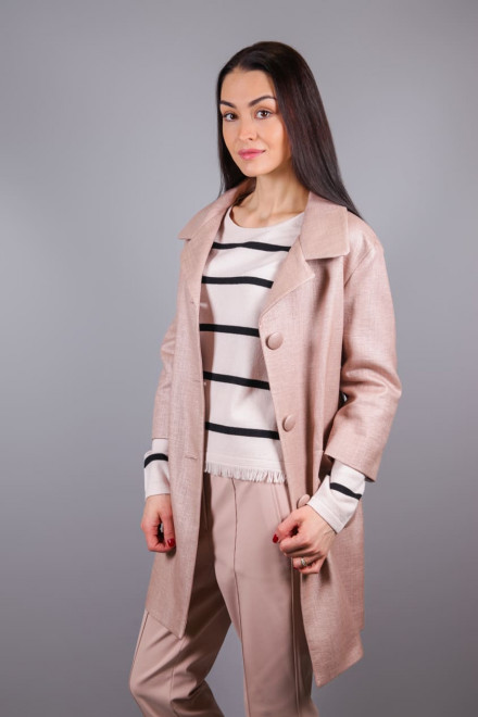 Пальто женское пудровое прямого кроя на пуговицах Luisa Cerano