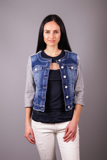 Куртка женская джинсовая с серыми рукавами Kocca