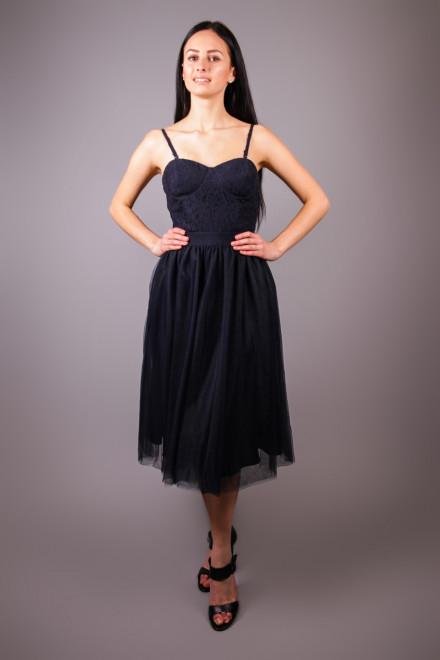 Платье женское приталенное черное на тонких бретелях Kocca