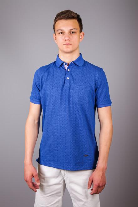 Футболка-поло мужская синего цвета принт якоря и с с нагрудным карманом Fynch Hatton