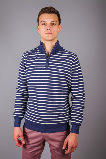 Пуловер мужской синего цвета узор шахматка Fynch Hatton