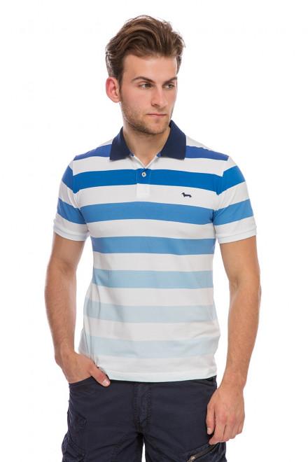 Футболка-поло мужская белого цвета в широкую полоску и с логотипом Harmont & Blaine