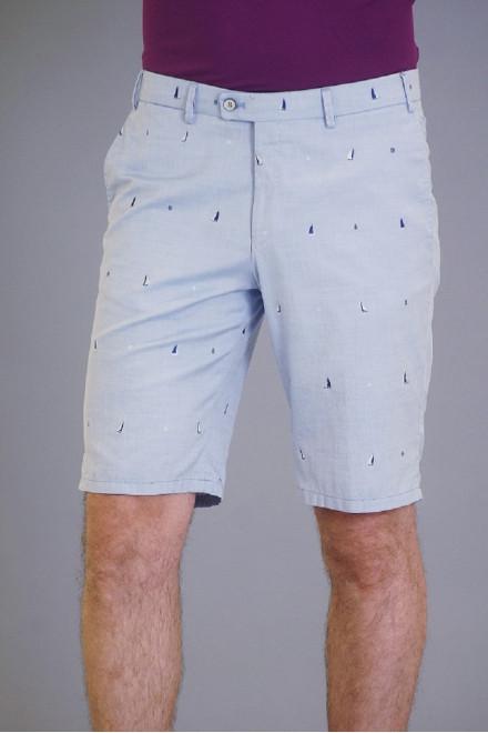 Шорты мужские голубого цвета прямые Hiltl