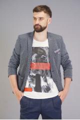 Серый трикотажный пиджак Carl Gross