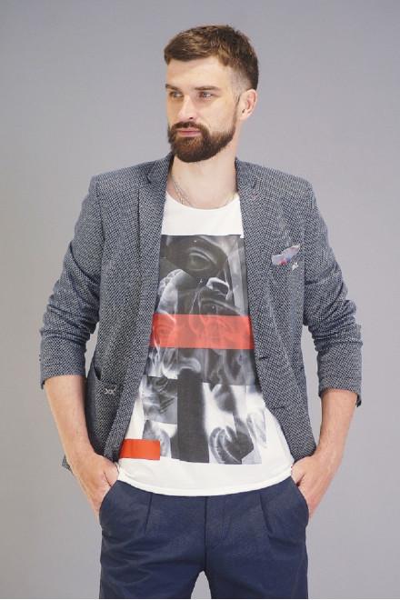 Пиджак мужской однобортный серого цвета в мелкий принт с широкими карманами Carl Gross