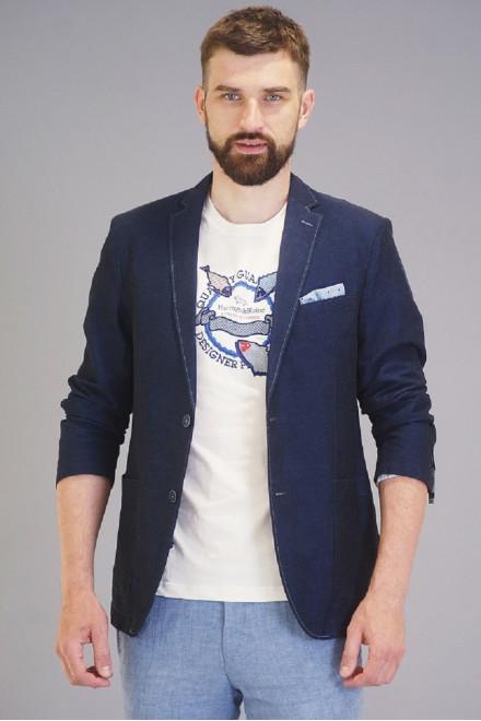 Пиджак мужской из костюмной  ткани синего цвета с отсрочкой на шлицах Carl Gross