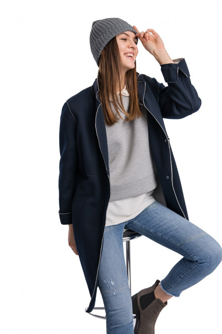 Пальто женское однобортное oversize на две пуговицы синее Reset