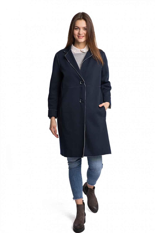 7031cd59b45 Пальто женское однобортное oversize на две пуговицы синее Reset