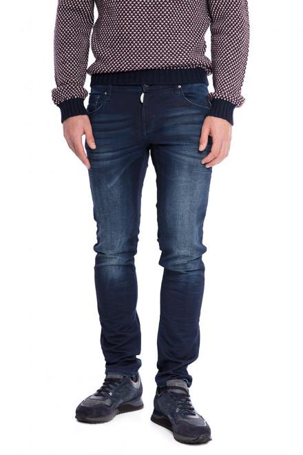 Джинсы мужские темно-синие выбеленные на коленях с потертостями и заломами Antony Morato