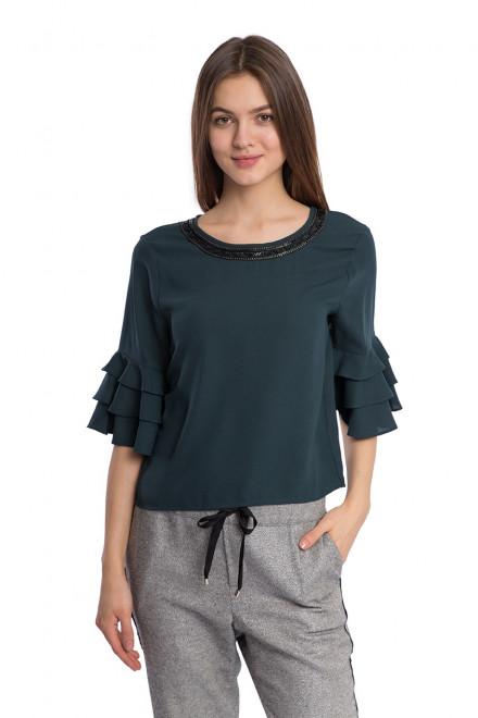 Блуза женская с рукавом три четверти темно-синяя Kocca