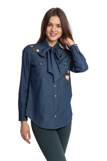 Рубашка женская деним с завязками и вышивкой Kocca