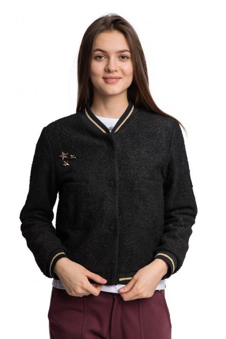 Куртка женская бомбер с нагрудными карманами на кнопках черная Kocca