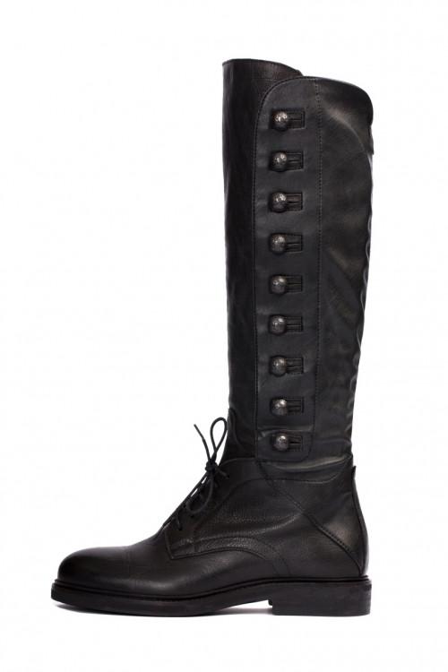 Сапоги женские из черной кожи на шнуровке и с пуговицами по бокам Area Forte