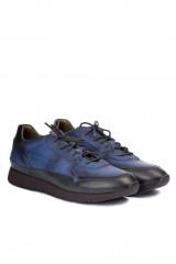 Кроссовки мужские кожаные на шнуровке синие Area Forte