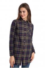 Рубашка женская с длинным рукавом цвета хаки в крупную клетку Rich&Royal