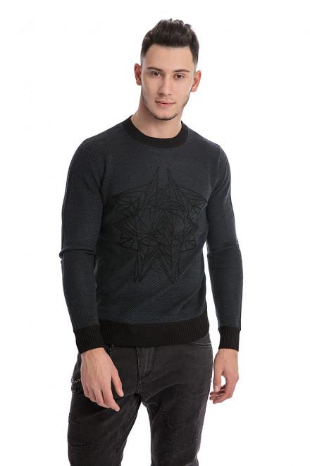 Пуловер мужской темно-серого цвета с геометрическим принтом Antony Morato