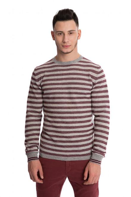 Пуловер мужской из шерсти серого цвета с бордовыми полосками Wool&Co