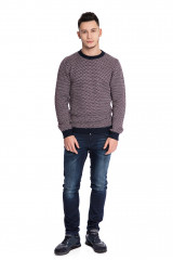 Пуловер мужской бордовый с мелким принтом полу облегающий Wool&Co