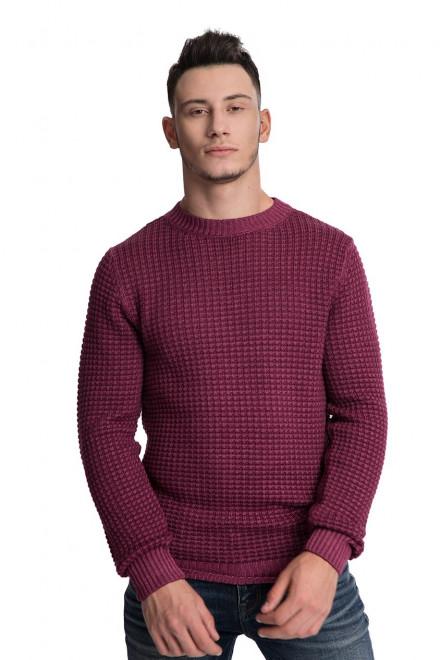 Пуловер мужской из бордовой шерсти  крупной вязки Wool&Co
