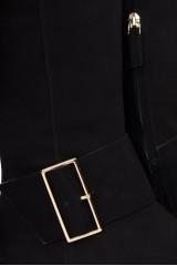 Сапоги женские из черной замши с широкой пряжкой на невысоком каблуке The Seller