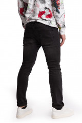 Джинсы мужские (дестрой) черного цвета рваные узкие Shine Original