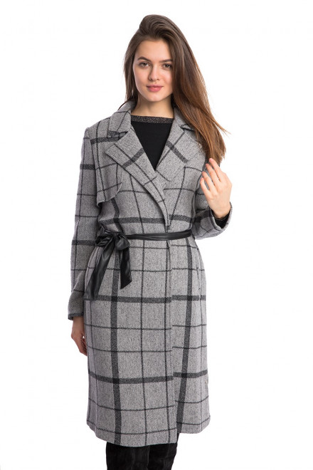 Пальто женское серое в клетку на запах Kocca