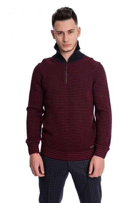 Пуловер мужской шерстяной бордового цвета в черную полоску крупной вязки Maerz