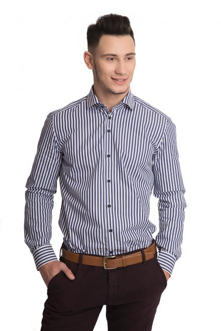 Рубашка мужская белого цвета в синюю полоску с длинными рукавами R-2