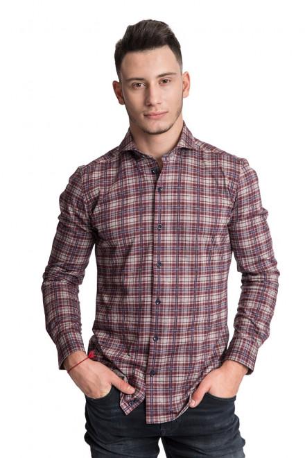 Рубашка мужская серого цвета в бордовую клетку R-2 Amsterdam