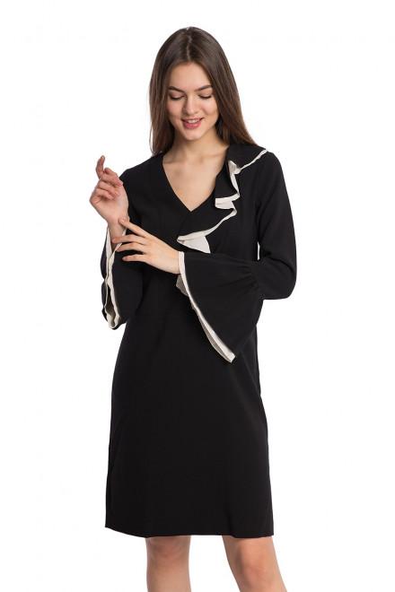 Платье женское с воланами черного цвета свободного кроя Sfizio