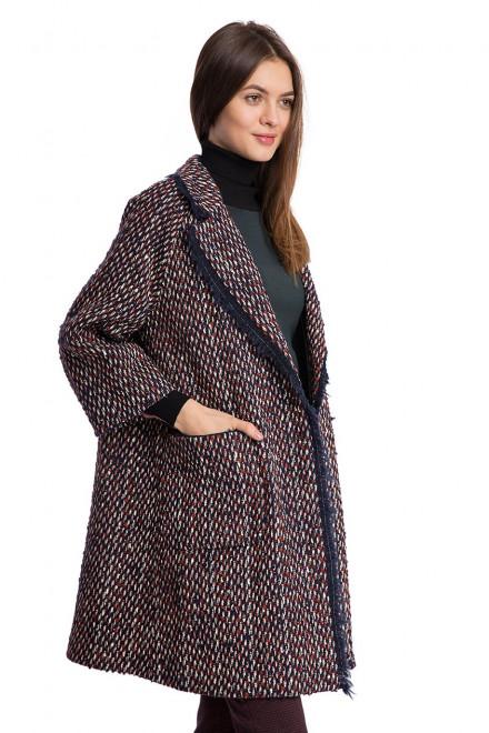 Пальто женское широкое однобортное бордовое Beatrice B