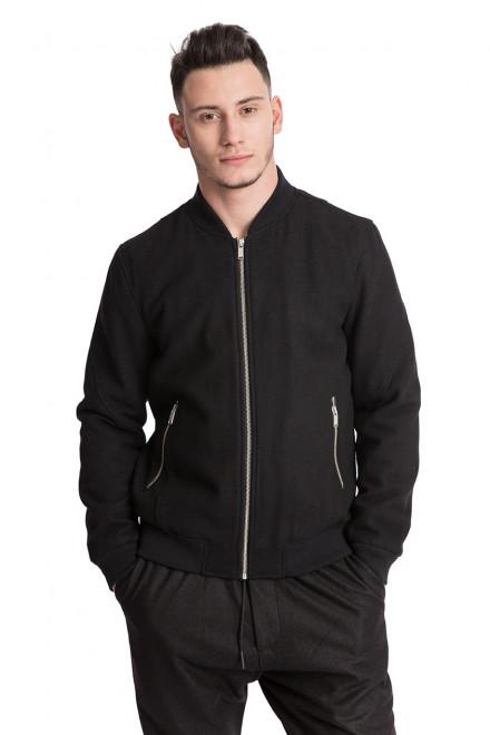 Куртка (бомбер) мужская черного цвета из шерсти на молнии Junk de Lux