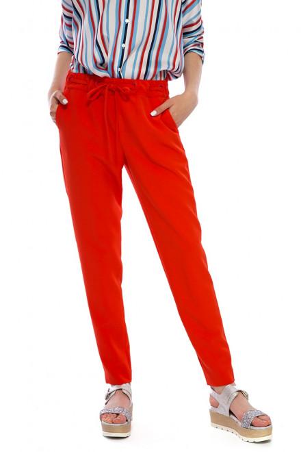 Брюки женские со шнурком красные Kocca