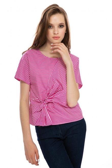 Блуза женская с бантом розовая в белую полоску Weill
