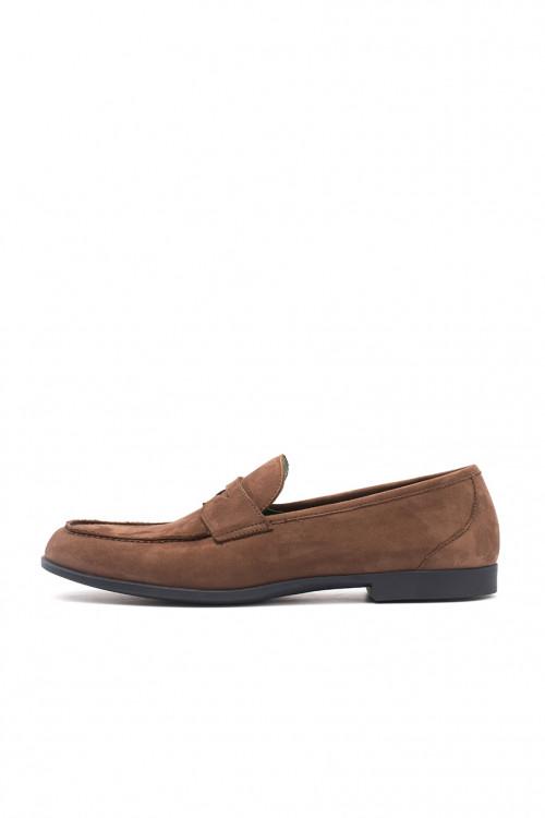 Туфли мужские (лоыеры) замшевые коричневого цвета Fratelli Rossetti One