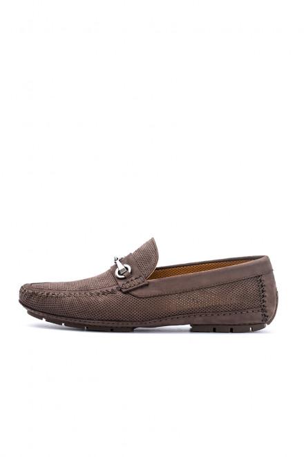 Туфли мужские коричневые с металлическими пряжками DN8 by Moreschi