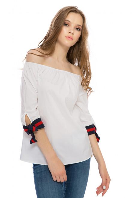 Блуза женская c открытыми плечами белая Rich&Royal