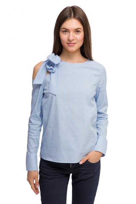 Блуза женская с бантом голубая в белую полоску Rich&Royal