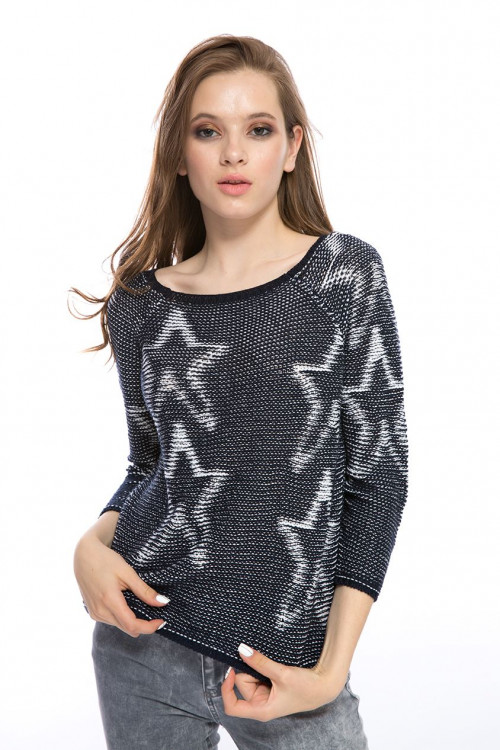 Пуловер женский синий Rich&Royal