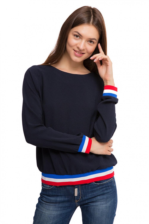 377e14f36dcf Пуловер женский (свитшот) синего цвета с полосами Rich&Royal