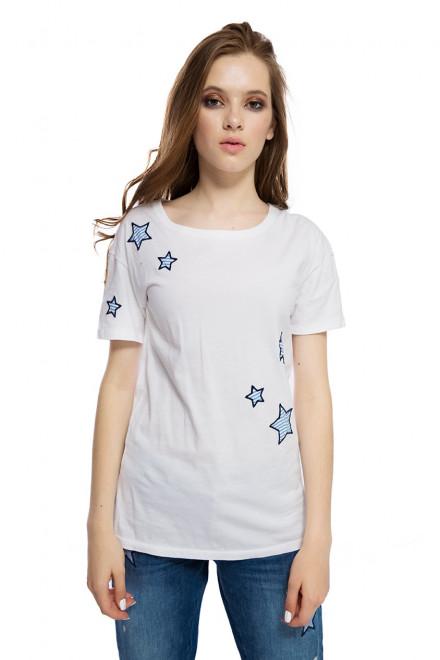 Футболка женская белого цвета со звездами приталенного кроя Rich&Royal