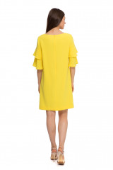 Платье женское с четвертным рукавом свободное желтого цвета Weill