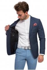 Пиджак мужской синего цвета из костюмной ткани в клетку Pal Zileri