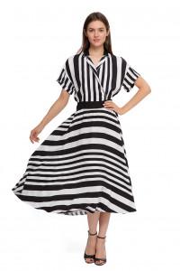 Платье женское белое в черную полоску Sfizio