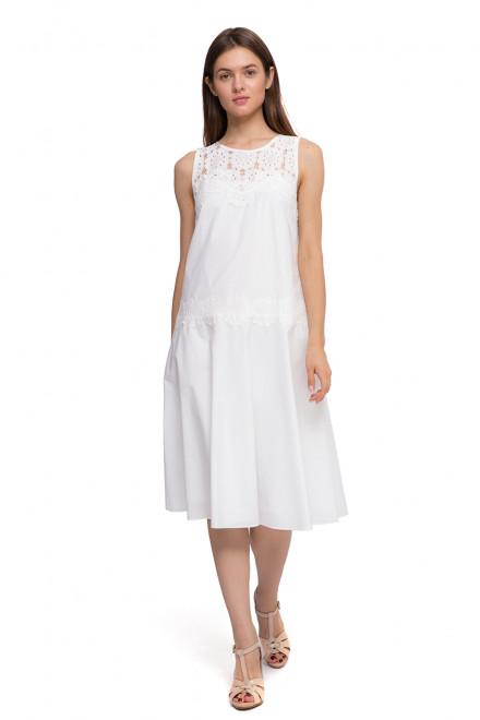 Платье женское без рукавов с кружевными вставками белого цвета Beatrice B.