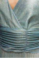 Платье женское вечернее в пол на тонких бретелях бирюзовый металлик Beatrice B.