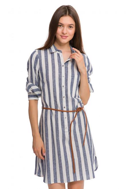 Платье женское с длинным рукавом приталенное белого цвета в синюю полоску Kocca