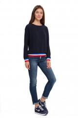 Джинсы женские с отворотами темно-синие Staff Jeans